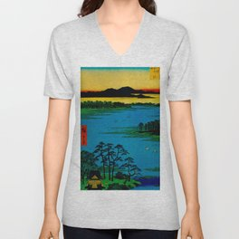Hiroshige, Sunset Contemplative Landscape Unisex V-Neck