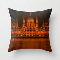 budapest Throw Pillows featuring parlement budapest by Sébastien BOUVIER