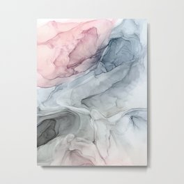 Pastel Blush, Grey and Blue Ink Clouds Painting Metal Print