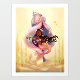 Mermaid in Conch Shell Art Print