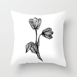 black and white flower drawing Throw Pillow