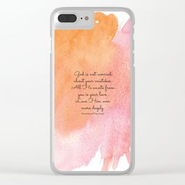 God is not worried about your mistakes. All He wants from you is your love. Paramhansa Yogananda Clear iPhone Case