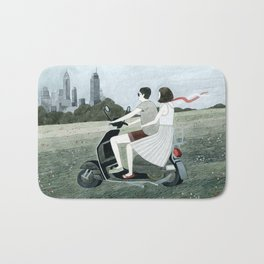 Couple On Scooter Bath Mat