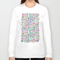 macaroon Long Sleeve T-shirts featuring Macarons and flowers by Anna Alekseeva kostolom3000