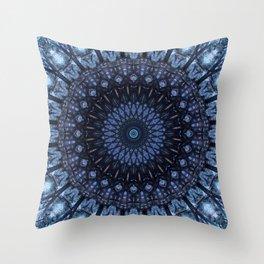Dark and light blue mandala Throw Pillow