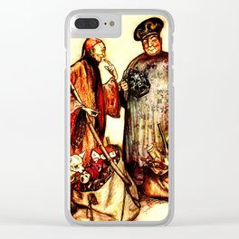 Chinese toy seller vintage illustration Clear iPhone Case