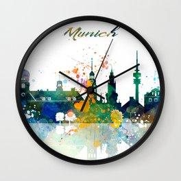 Munich Germany Skyline Watercolor Wall Clock