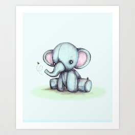 Elephant & Bee Art Print