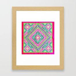 Hmong love square cross stitch Framed Art Print