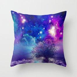 purple blue galaxy landscape Throw Pillow