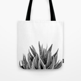 Haworthia Succulent in Black and White Tote Bag