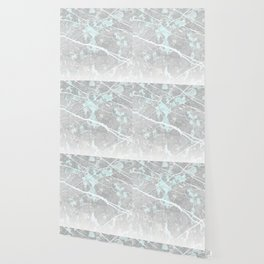 Pastel Teal & Grey Marble - Ombre Wallpaper