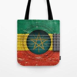 Old Vintage Acoustic Guitar with Ethiopian Flag Tote Bag