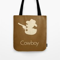 cowboy Tote Bags featuring Cowboy by S. Vaeth