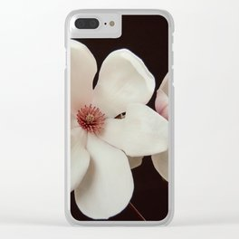 Magnolia On Black Clear iPhone Case