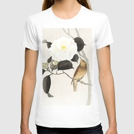 Nightingale on a flowering Camellia - Japanese vintage woodblock print art T-shirt