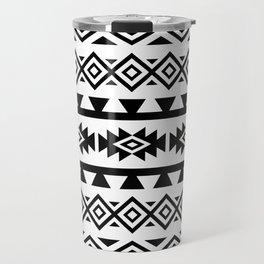 Aztec Stylized Shapes Pattern BW Travel Mug