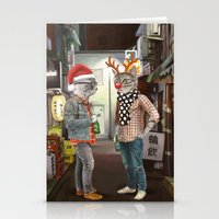 Stationery Cards featuring A Cats Night Out Christmas edition by florever