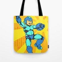 mega man Tote Bags featuring Mega Man by Ramon Villalobos
