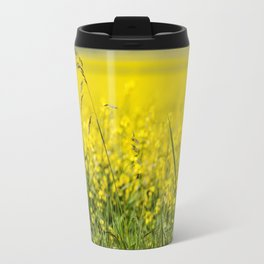 Red poppy in a yellow field Travel Mug