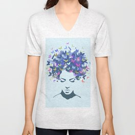 Woman Butterfly Unisex V-Neck