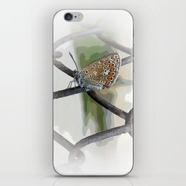 butterfly on fence iPhone Skin