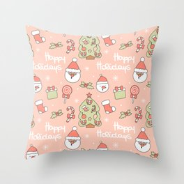 cute pattern with santa claus, christmas tree, candy cane, gift box, sock, lollipop and holly Throw Pillow