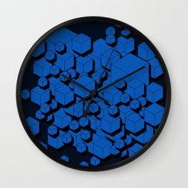 3D Cobalt blue Cubes Wall Clock