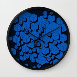 3D Cobalt blue Cubes Wall Clock