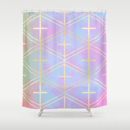 Rose Gold Trellis in Candy Skies Shower Curtain