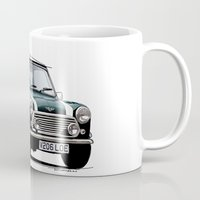 mini cooper Mugs featuring Classic Mini Cooper by TCORNELIUS