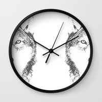 wolves Wall Clocks featuring WOLVES by Aonair Designs