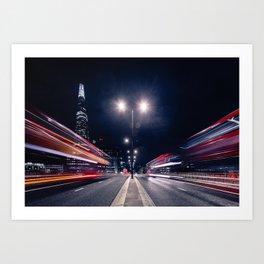 Night traffic Art Print