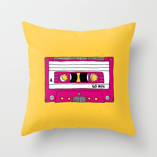 Vintage Mix Tape // Yellow and Pink Throw Pillow