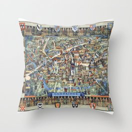 Cambridge University campus map Throw Pillow