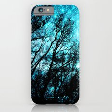 black trees teal space iPhone 6 Slim Case