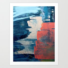 Deep Waters: a vibrant, minimal, abstract painting in pinks and blues by Alyssa Hamilton Art Art Print