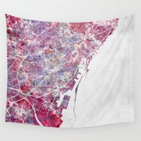 barcelona Wall Tapestries featuring Barcelona map by MapMapMaps.Watercolors