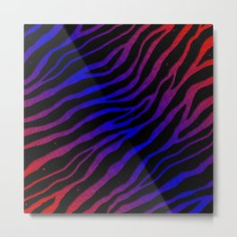 Ripped SpaceTime Stripes - Red/Blue Metal Print