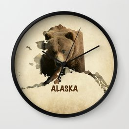 Alaskan Grizzly Map Wall Clock
