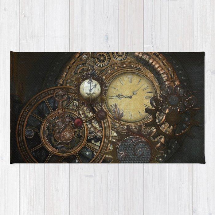 Steampunk Clocks Rug By Simonegatterwe