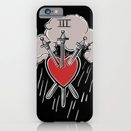 3 of Swords Black Tarot iPhone Case