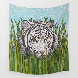 White tiger in wild grass Wall Tapestry