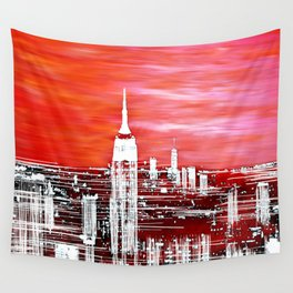 Abstract Red In The City Design Wall Tapestry