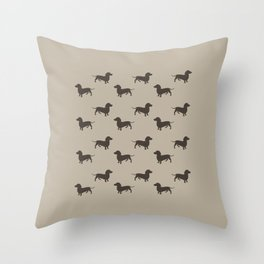 Dachshund Pattern - Tan Throw Pillow