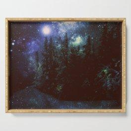 Galaxy Forest Deep Dark Blue & Green Serving Tray