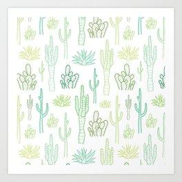 Green cactus pattern Art Print