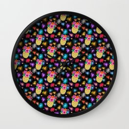 rainbow fireworks / friday night pineapple cocktails Wall Clock