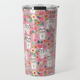 Shih Tzu florals love gift for dog person pet friendly portrait dog breeds unique small puppy Travel Mug