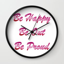 Be happy Be out Be proud WLW Lipstick Lesbian Flag T-shirt Wall Clock
